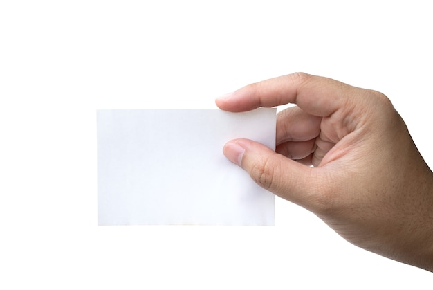 Tenere in mano biglietto da visita virtuale o carta bianca isolato su uno spazio bianco