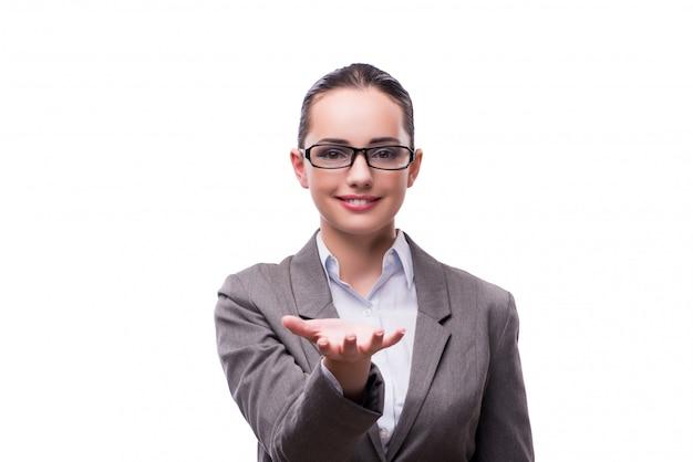 Tenersi per mano della donna di affari isolato su bianco