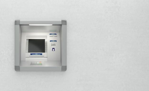 Terminale bancomat su una parete con spazio di copia sul lato destro