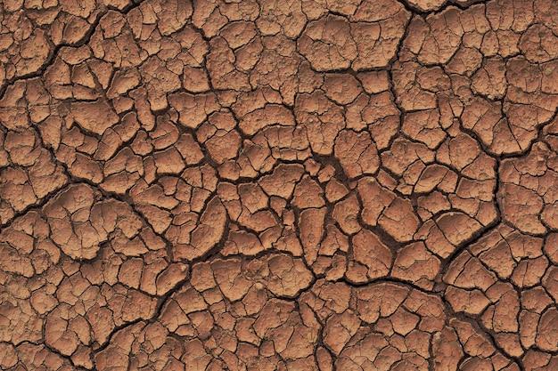 Terra asciutta e screpolata durante la stagione delle piogge a causa della mancanza di pioggia nell'acqua che ha incrinato la trama del suolo
