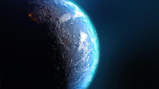 Terra della rappresentazione 3d con la nuvola e l'acqua calde del terreno della mappa di mondo contro lo spazio con il rumore e l'immagine elaborata grano fornita dalla nasa