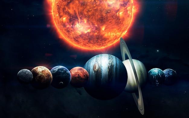 Terra, marte e altri. carta da parati spaziale di fantascienza, pianeti incredibilmente belli del sistema solare.