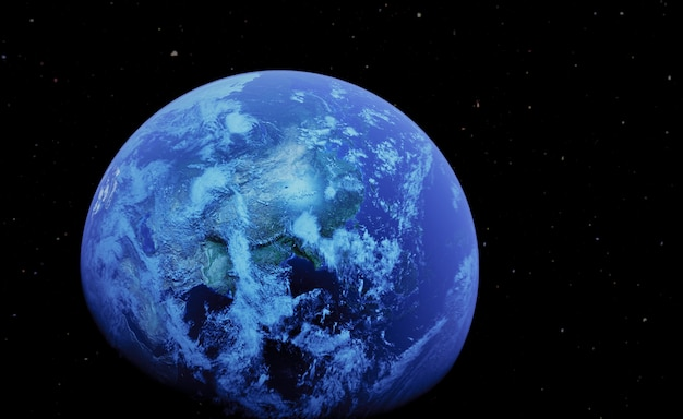 Terra realistica dell'illustrazione 3d su spazio