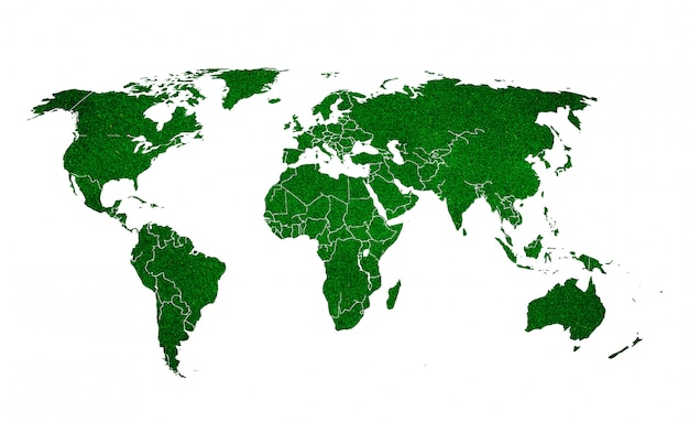 Terra verde su sfondo bianco