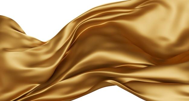 Tessuto di lusso dorato isolato su bianco