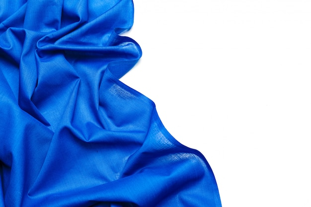 Tessuto di seta blu sullo sfondo