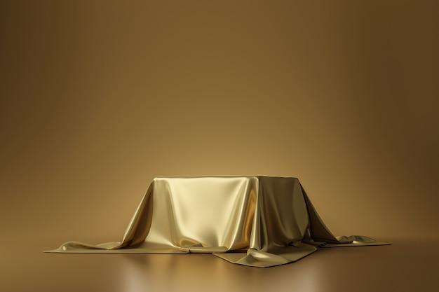 Tessuto lussuoso dorato disposto sul piedistallo superiore o sullo scaffale in bianco del podio sulla parete dell'oro con il concetto di lusso. rendering 3d.