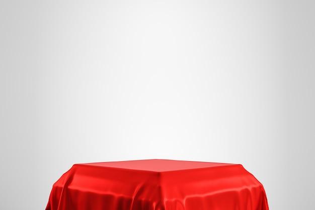 Tessuto lussuoso rosso disposto sul piedistallo superiore o sullo scaffale in bianco del podio sulla parete bianca con il concetto di lusso. rendering 3d.