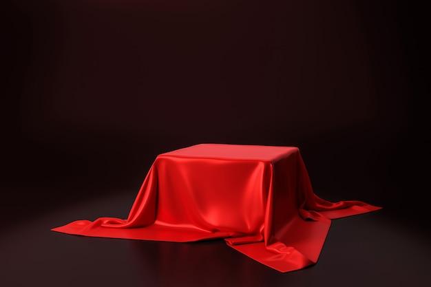 Tessuto lussuoso rosso disposto sul piedistallo superiore o sullo scaffale in bianco del podio sulla parete nera con il concetto di lusso. rendering 3d.