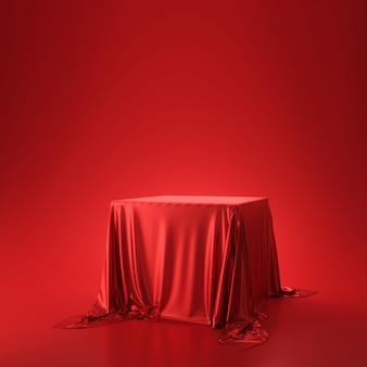 Tessuto o panno lussuoso rosso disposto sul piedistallo superiore o sullo scaffale in bianco del podio sulla parete viva con il concetto di lusso. fondali di musei o gallerie per prodotti. rendering 3d.
