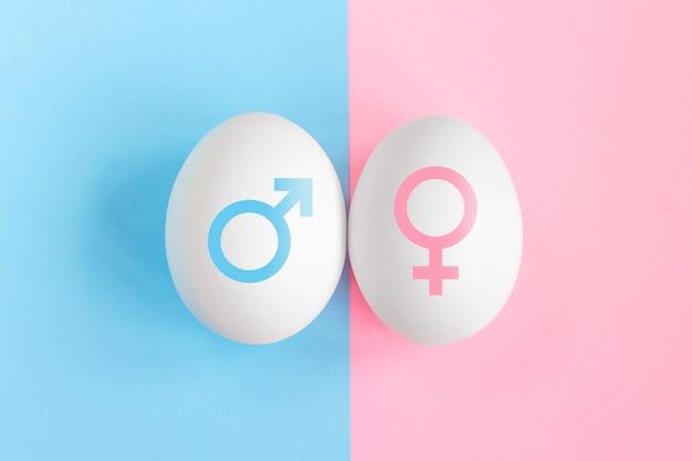 Test di gravidanza. concetto di ragazzo o ragazza. simboli di uomo e donna. concetto di affiliazione di genere