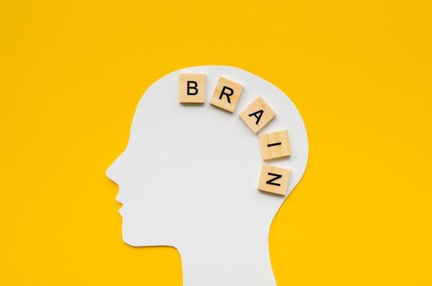 Testa bianca con la parola cervello da lettere scrabbles