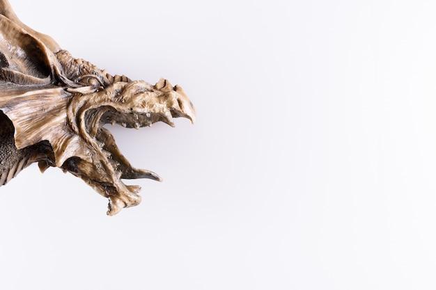 Testa del drago isolata nel fondo bianco