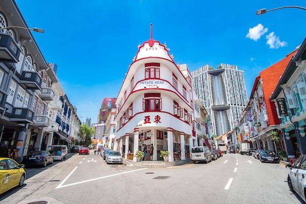 Testa della patata che costruisce su chinatown, singapore