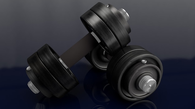 Testa di legno sulla rappresentazione nera del fondo 3d per il contenuto di sport.