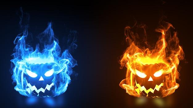 Testa di zucca di halloween in fiamme.
