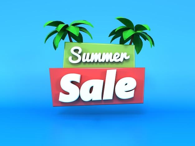 Testo 3d di vendita di estate che galleggia sul blu