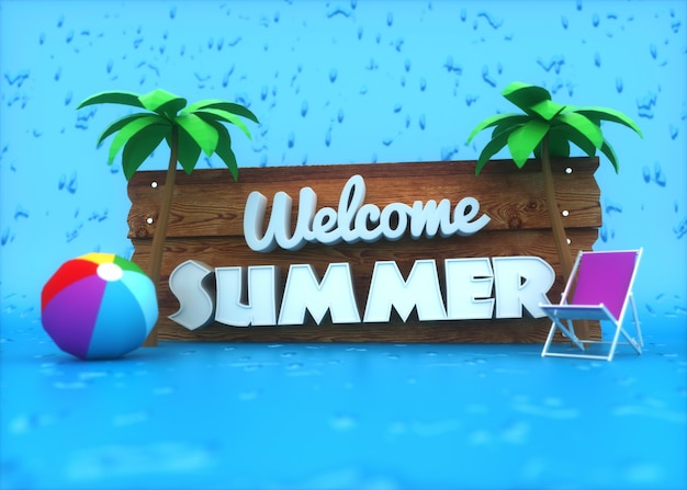 Testo bianco 3d sul cartello in legno sugli elementi blu ed estate