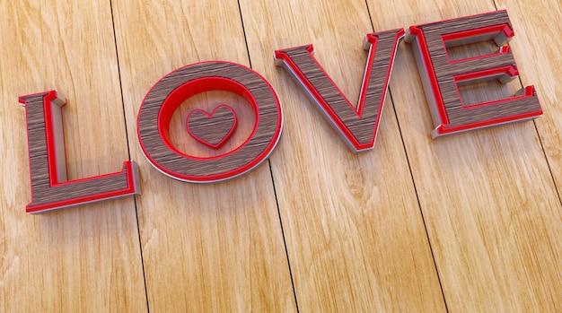 Testo di amore 3d su legno