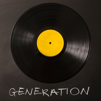 Testo di generazione con vinile nero su sfondo