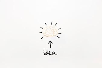 Testo di idea con il simbolo della freccia che mostra il cervello attivo