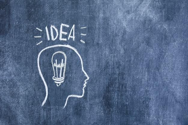 Testo di idea sopra il contorno disegnato con lampadina sulla lavagna