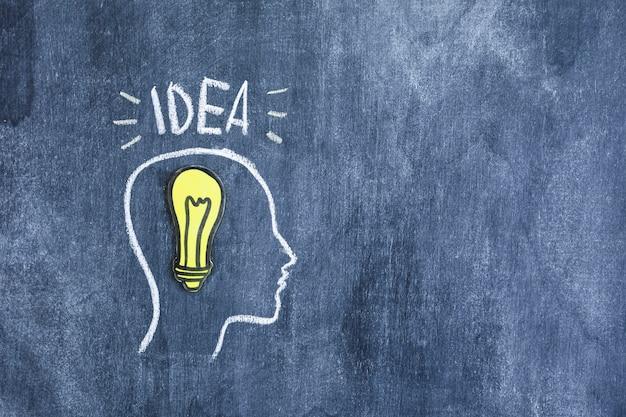 Testo di idea sopra il profilo disegnato sulla lavagna con la lampadina del ritaglio di carta