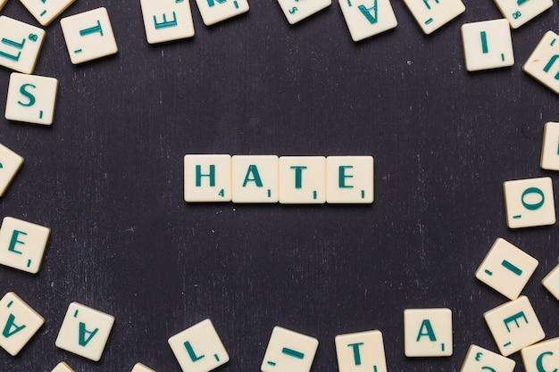 Testo di odio fatto da lettere di gioco a scrabble