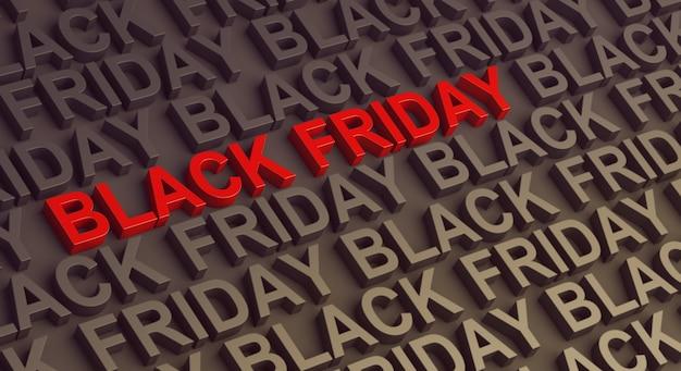 Testo di sfondo vendita venerdì nero per poster banner, rendering 3d