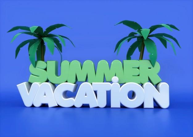 Testo di vacanze estive 3d con palme e viola