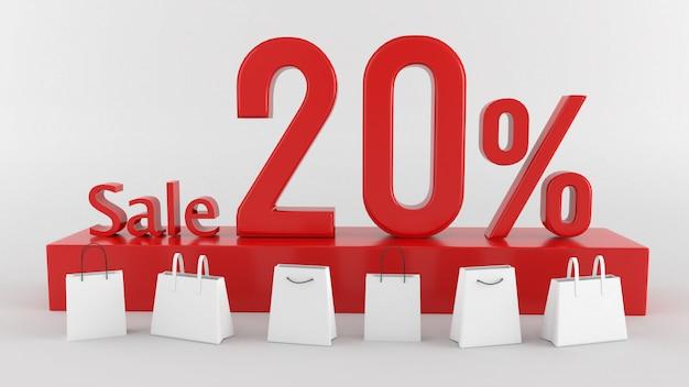 Testo di vendita nell'illustrazione 3d 3d che rende parola rossa di vendita isolata