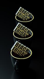 Testo di venerdì nero nella bandiera gialla e nera della cravatta lunga della tazza.