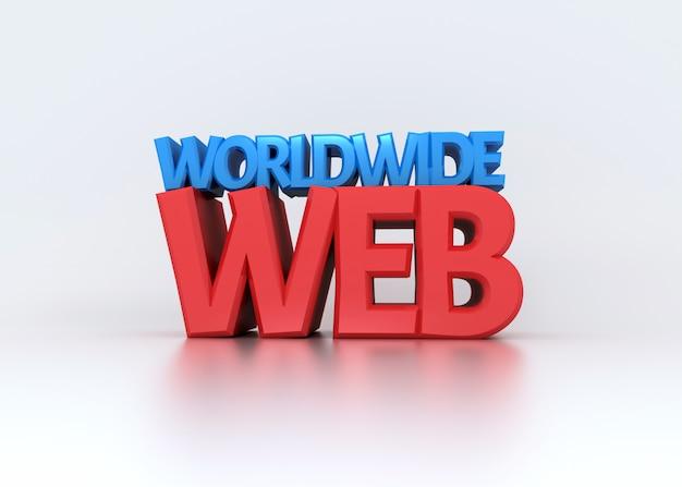 Testo di world wide web 3d su bianco