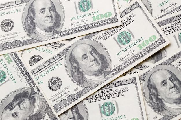 Texture di banconote da un dollaro. cento dollari.