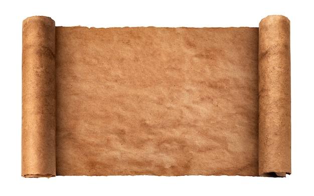 Texture di carta vintage, pergamena artigianale arrotolata isolato su superficie bianca, vecchio rotolo