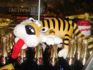 Tigre champagne nuovo anno