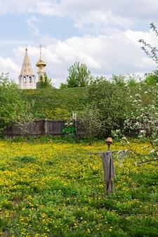 Tipico paesaggio russo spaventapasseri dagli uccelli nel giardino. chiesa in lontananza. suzdal, russia.