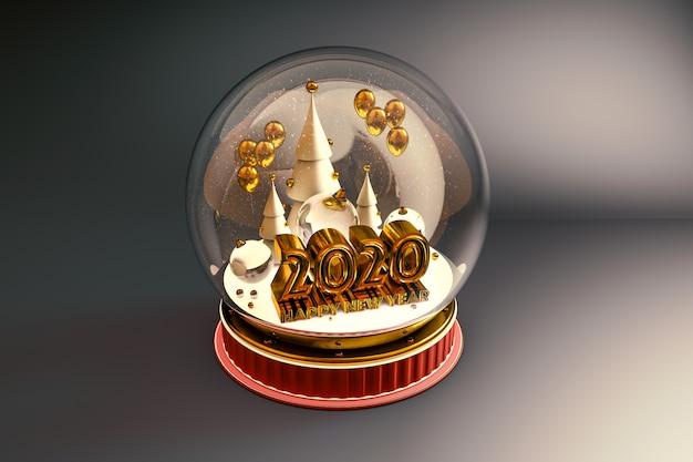 Tipografia 2020 e felice anno nuovo all'interno di una cupola
