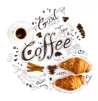 Tipografia di lettere a tema caffè disegnati a mano con frasi classiche in una composizione vintage.