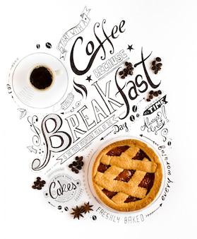 Tipografia disegnata a mano dell'iscrizione della prima colazione con le frasi classiche in una composizione d'annata.