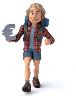 Tirante divertente del fumetto di viaggiatore con zaino e sacco a pelo con l'euro segno