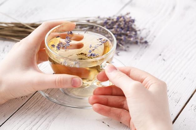 Tisana aromatica in tazza di vetro che tiene le mani femminili