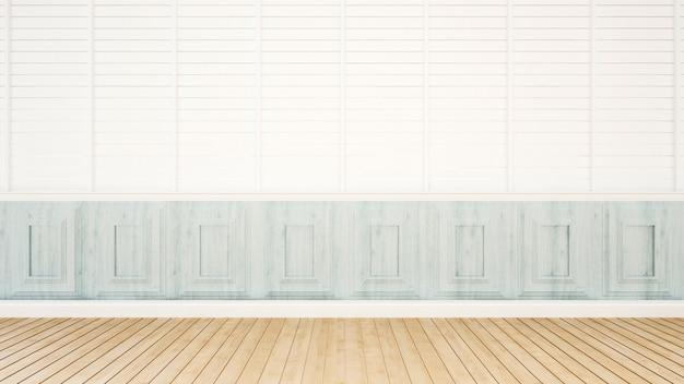 Tonalità bianca e blu della stanza vuota per materiale illustrativo - rappresentazione 3d