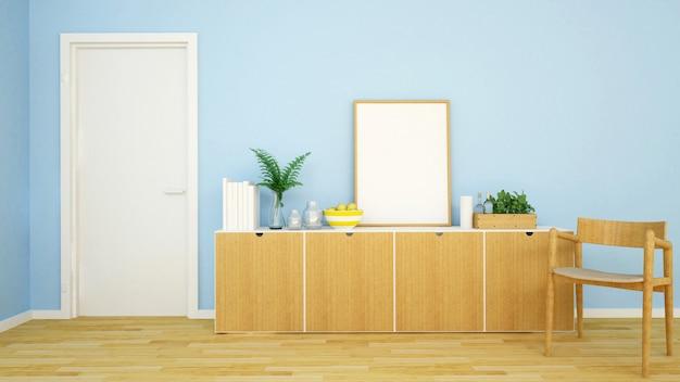 Tonalità blu di area vivente in appartamento o casa - rappresentazione 3d