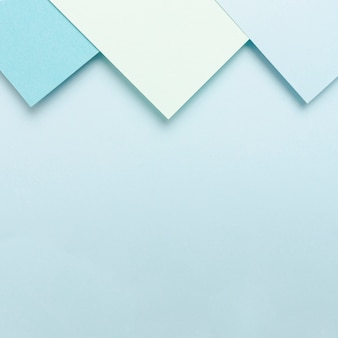 Tonalità blu set di fogli di carta con spazio di copia