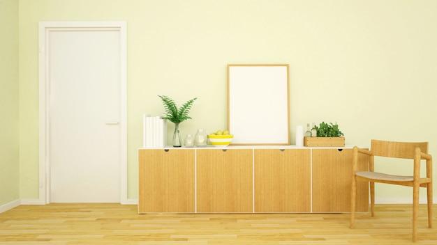 Tono giallo di area vivente in appartamento o casa - rappresentazione 3d
