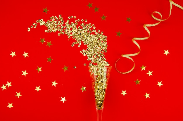 Top view glitter oro con coriandoli