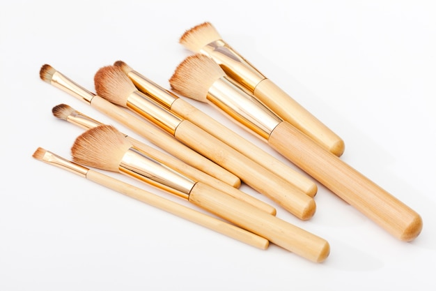 Top view make up brushes