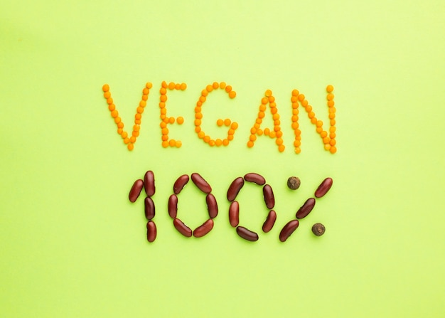 Top view vegan 100% lettering