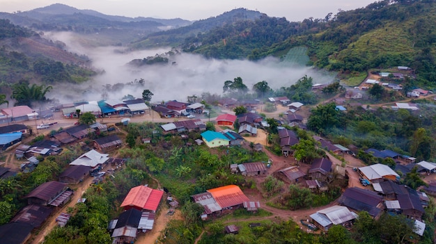 Topview village north thailand in nebbia